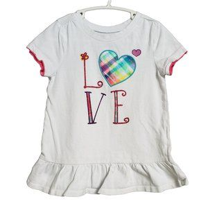 CHILDREN'S PLACE White Pink Sparkle LOVE Top 4T